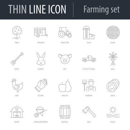 Icons Set of Farming. Symbol of Intelligent Thin Line Image Pack. Stroke Pictogram Graphic for Web Design. Quality Outline Vector Symbol Concept Collection. Premium Mono Illustration