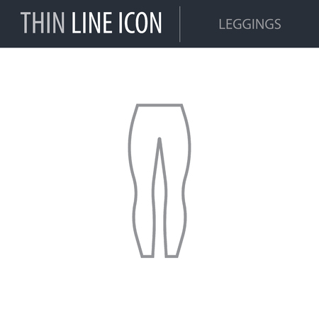 Symbol of Leggings. Thin line Icon of Fashion. Stroke Pictogram Graphic for Web Design. Quality Outline Vector Symbol Concept. Premium Mono Linear Beautiful Plain Laconic Logo  イラスト・ベクター素材