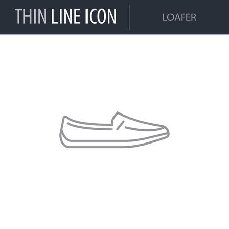Symbol of Loafer. Thin line Icon of Fashion. Stroke Pictogram Graphic for Web Design. Quality Outline Vector Symbol Concept. Premium Mono Linear Beautiful Plain Laconic Logo