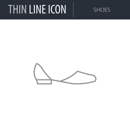 Symbol of Shoes. Thin line Icon of Fashion. Stroke Pictogram Graphic for Web Design. Quality Outline Vector Symbol Concept. Premium Mono Linear Beautiful Plain Laconic Logo 向量圖像