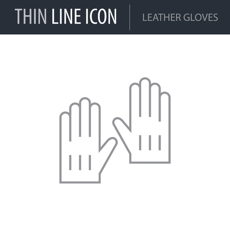 Symbol of Leather Gloves. Thin line Icon of Fashion. Stroke Pictogram Graphic for Web Design. Quality Outline Vector Symbol Concept. Premium Mono Linear Beautiful Plain Laconic Logo