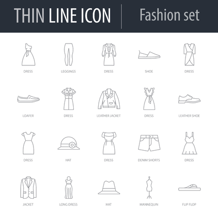 Icons Set of Fashion. Symbol of Intelligent Thin Line Image Pack. Stroke Pictogram Graphic for Web Design. Quality Outline Symbol Concept Collection. Premium Mono