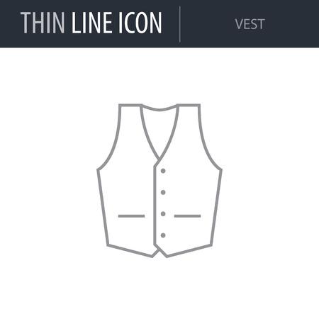 Symbol of Vest. Thin line Icon of Fashion. Stroke Pictogram Graphic for Web Design. Quality Outline Vector Symbol Concept. Premium Mono Linear Beautiful Plain Laconic Logo