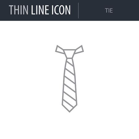 Symbol of Tie. Thin line Icon of Fashion. Stroke Pictogram Graphic for Web Design. Quality Outline Vector Symbol Concept. Premium Mono Linear Beautiful Plain Laconic Logo