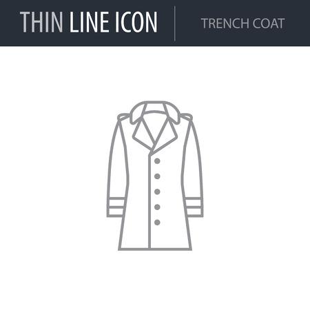 Symbol of Trench Coat. Thin line Icon of Fashion. Stroke Pictogram Graphic for Web Design. Quality Outline Vector Symbol Concept. Premium Mono Linear Beautiful Plain Laconic Logo Vectores