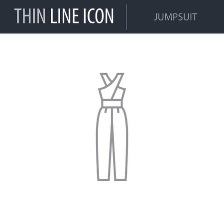 Symbol of Jumpsuit. Thin line Icon of Fashion. Stroke Pictogram Graphic for Web Design. Quality Outline Vector Symbol Concept. Premium Mono Linear Beautiful Plain Laconic Logo