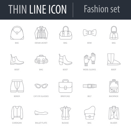 Icons Set of Fashion. Symbol of Intelligent Thin Line Image Pack. Stroke Pictogram Graphic for Web Design. Quality Outline Symbol Concept Collection. Premium Mono Linear 矢量图像