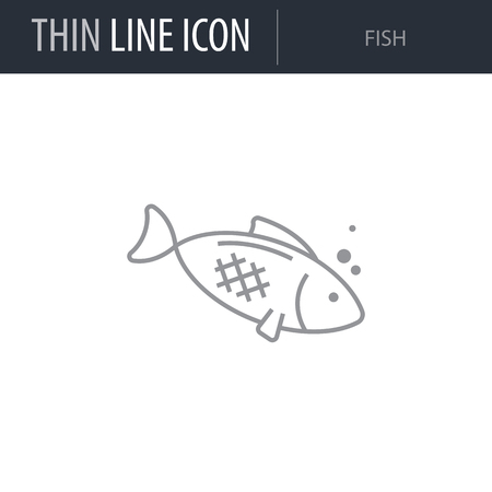 Symbol of Fish. Thin line Icon of Food. Stroke Pictogram Graphic for Web Design. Quality Outline Vector Symbol Concept. Premium Mono Linear Beautiful Plain Laconic Logo Иллюстрация