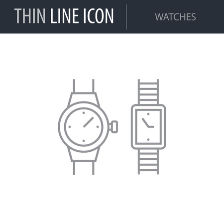 Symbol of Watches. Thin line Icon of Fashion. Stroke Pictogram Graphic for Web Design. Quality Outline Vector Symbol Concept. Premium Mono Linear Beautiful Plain Laconic Logo