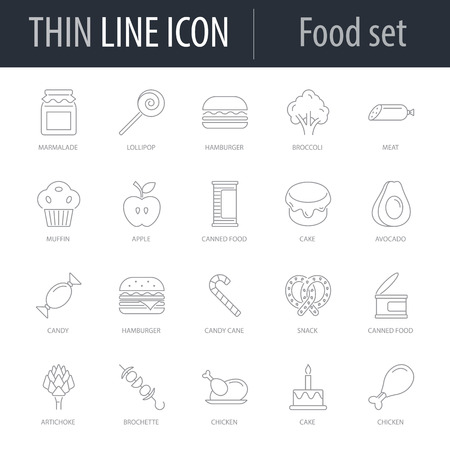 Icons Set of Food. Symbol of Intelligent Thin Line Image Pack. Stroke Pictogram Graphic for Web Design. Quality Outline Vector Symbol Concept