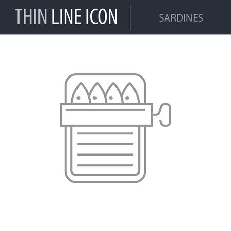 Simbolo delle Sardine. Linea sottile Icona del cibo. Grafico del pittogramma del tratto per il Web Design. Concetto di simbolo di qualità contorno vettoriale. Premium Mono Linear Beautiful Plain Logo laconico