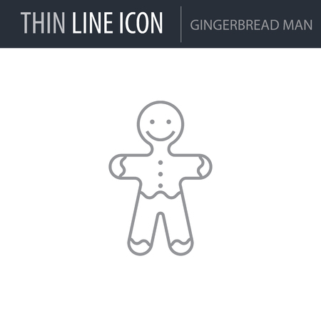 Symbol of Gingerbread Man. Thin line Icon of Food. Stroke Pictogram Graphic for Web Design. Quality Outline Vector Symbol Concept. Premium Mono Linear Beautiful Plain Laconic Logo