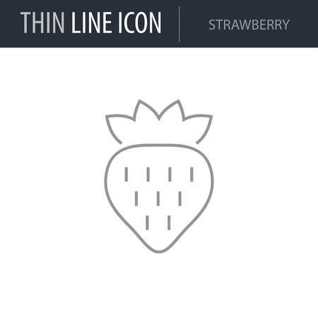 Symbol of Strawberry. Thin line Icon of Food. Stroke Pictogram Graphic for Web Design. Quality Outline Vector Symbol Concept. Premium Mono Linear Beautiful Plain Laconic Logo