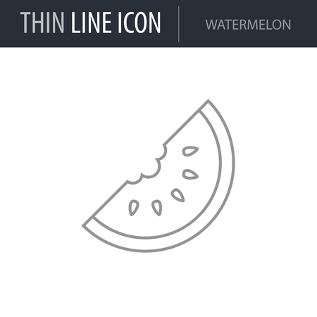 Symbol of Watermelon. Thin line Icon of Food. Stroke Pictogram Graphic for Web Design. Quality Outline Vector Symbol Concept. Premium Mono Linear Beautiful Plain Laconic Logo