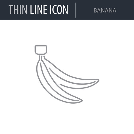 Symbol of Banana. Thin line Icon of Food. Stroke Pictogram Graphic for Web Design. Quality Outline Vector Symbol Concept. Premium Mono Linear Beautiful Plain Laconic Logo