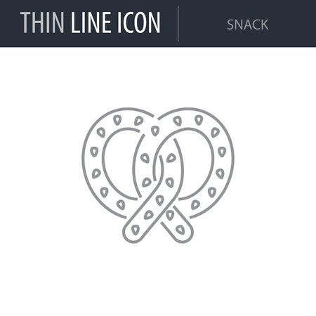 Symbol of Snack. Thin line Icon of Food. Stroke Pictogram Graphic for Web Design. Quality Outline Vector Symbol Concept. Premium Mono Linear Beautiful Plain Laconic Logo
