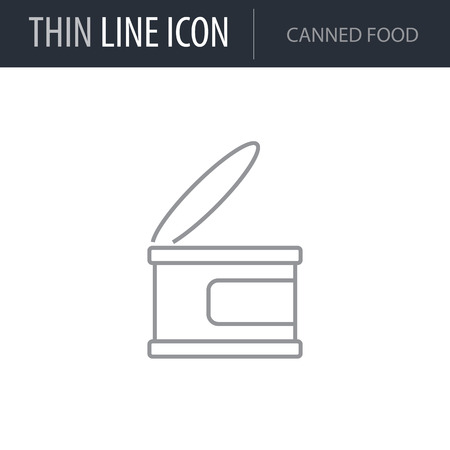 Symbol of Canned Food. Thin line Icon of Food. Stroke Pictogram Graphic for Web Design. Quality Outline Vector Symbol Concept. Premium Mono Linear Beautiful Plain Laconic Logo Illustration