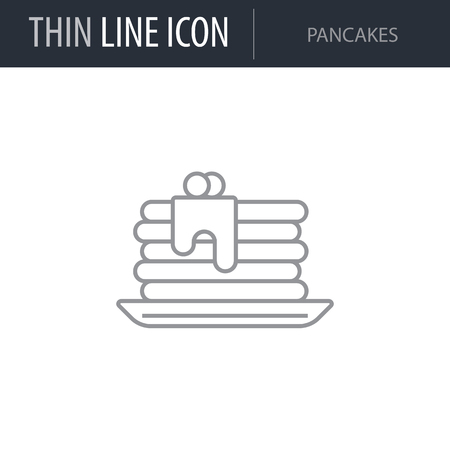 Symbol of Pancakes. Thin line Icon of Food. Stroke Pictogram Graphic for Web Design. Quality Outline Vector Symbol Concept. Premium Mono Linear Beautiful Plain Laconic Logo