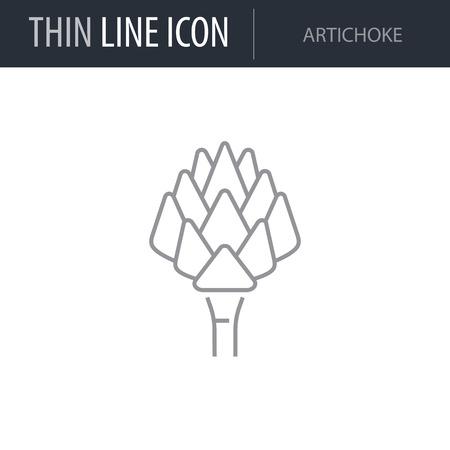 Symbol of Artichoke. Thin line Icon of Food. Stroke Pictogram Graphic for Web Design. Quality Outline Vector Symbol Concept. Premium Mono Linear Beautiful Plain Laconic Logo