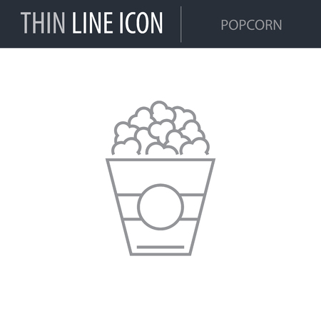 Symbol of Popcorn. Thin line Icon of Food. Stroke Pictogram Graphic for Web Design. Quality Outline Vector Symbol Concept. Premium Mono Linear Beautiful Plain Laconic Logo