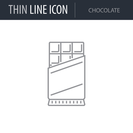 Symbol of Chocolate. Thin line Icon of Food. Stroke Pictogram Graphic for Web Design. Quality Outline Vector Symbol Concept. Premium Mono Linear Beautiful Plain Laconic Logo