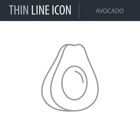 Symbol of Avocado. Thin line Icon of Food. Stroke Pictogram Graphic for Web Design. Quality Outline Vector Symbol Concept. Premium Mono Linear Beautiful Plain Laconic Logo