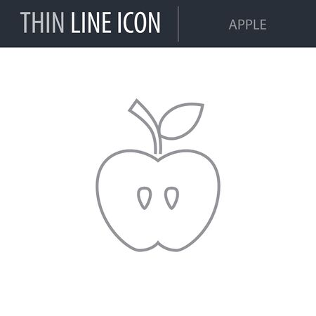 Symbol of Apple. Thin line Icon of Food. Stroke Pictogram Graphic for Web Design. Quality Outline Vector Symbol Concept. Premium Mono Linear Beautiful Plain Laconic Logo Illustration