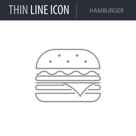 Symbol of Hamburger. Thin line Icon of Food. Stroke Pictogram Graphic for Web Design. Quality Outline Vector Symbol Concept. Premium Mono Linear Beautiful Plain Laconic Logo Ilustração