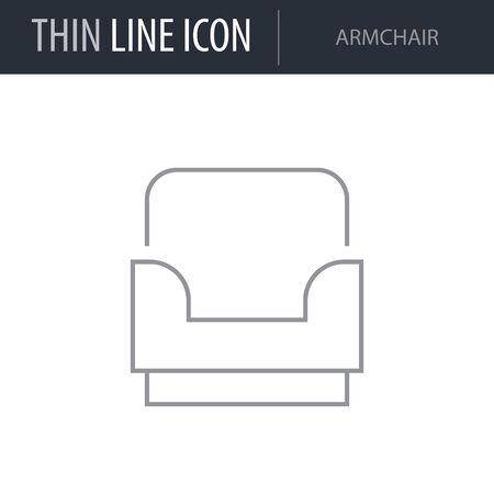 Symbol of Armchair. Thin line Icon of Furniture. Stroke Pictogram Graphic for Web Design. Quality Outline Vector Symbol Concept. Premium Mono Linear Beautiful Plain Laconic Logo Illustration