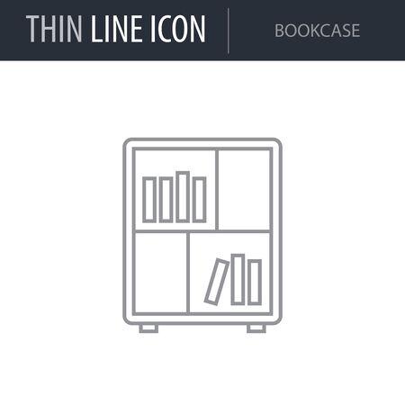 Symbol of Bookcase. Thin line Icon of Furniture. Stroke Pictogram Graphic for Web Design. Quality Outline Vector Symbol Concept. Premium Mono Linear Beautiful Plain Laconic Logo Banque d'images - 125063108