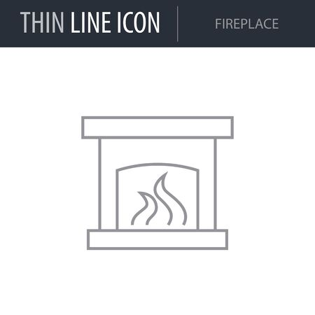 Symbol of Fireplace. Thin line Icon of Furniture. Stroke Pictogram Graphic for Web Design. Quality Outline Vector Symbol Concept. Premium Mono Linear Beautiful Plain Laconic Logo