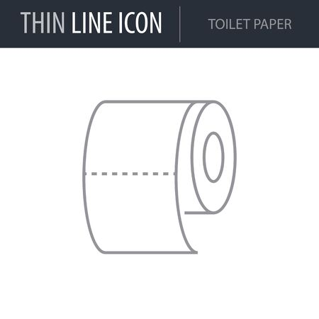 Symbol of Toilet Paper. Thin line Icon of Hygiene. Stroke Pictogram Graphic for Web Design. Quality Outline Vector Symbol Concept. Premium Mono Linear Beautiful Plain Laconic Logo
