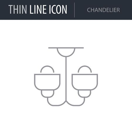 Symbol of Chandelier. Thin line Icon of Furniture. Stroke Pictogram Graphic for Web Design. Quality Outline Vector Symbol Concept. Premium Mono Linear Beautiful Plain Laconic