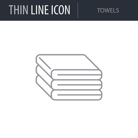 Symbol of Towels. Thin line Icon of Hygiene. Stroke Pictogram Graphic for Web Design. Quality Outline Vector Symbol Concept. Premium Mono Linear Beautiful Plain Laconic Logo
