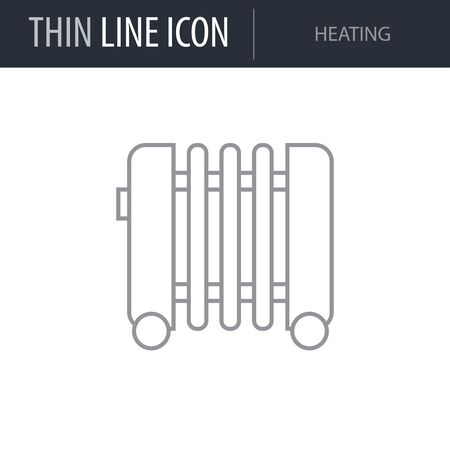 Symbol of Heating. Thin line Icon of Inear Household Elements. Stroke Pictogram Graphic for Web Design. Quality Outline Vector Symbol Concept. Premium Mono Linear Beautiful Plain Laconic Logo
