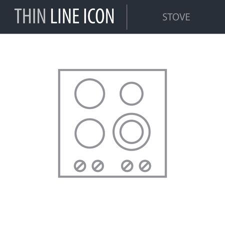 Symbol of Stove. Thin line Icon of Inear Household Elements. Stroke Pictogram Graphic for Web Design. Quality Outline Vector Symbol Concept. Premium Mono Linear Beautiful Plain Laconic Logo Illustration