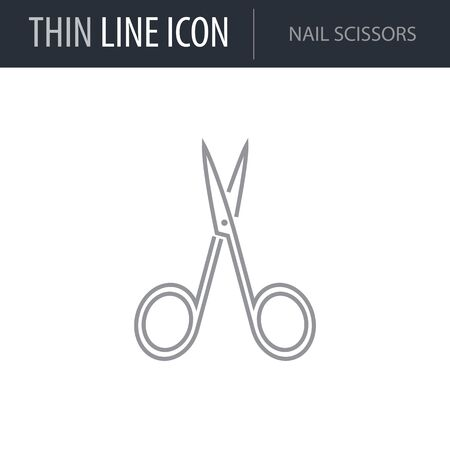 Symbol of Nail Scissors. Thin line Icon of Hygiene. Stroke Pictogram Graphic for Web Design. Quality Outline Vector Symbol Concept. Premium Mono Linear Beautiful Plain Laconic Logo