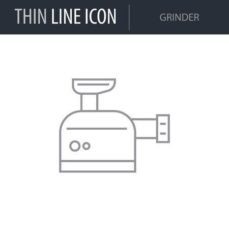 Symbol of Grinder. Thin line Icon of Inear Household Elements. Stroke Pictogram Graphic for Web Design. Quality Outline Vector Symbol Concept. Premium Mono Linear Beautiful Plain Laconic Logo