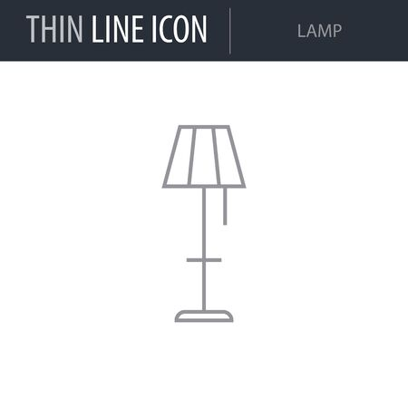 Symbol of Lamp. Thin line Icon of Inear Household Elements. Stroke Pictogram Graphic for Web Design. Quality Outline Vector Symbol Concept. Premium Mono Linear Beautiful Plain Laconic Logo