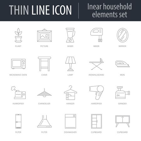 Icons Set of Household Elements. Symbol of Intelligent Thin Line Image Pack. Stroke Pictogram Graphic for Web Design. Quality Outline Vector Symbol Concept Collection. Premium Mono Çizim