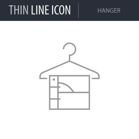 Symbol of Hanger. Thin line Icon of Inear Household Elements. Stroke Pictogram Graphic for Web Design. Quality Outline Vector Symbol Concept. Premium Mono Linear Beautiful Plain Laconic Logo Illustration