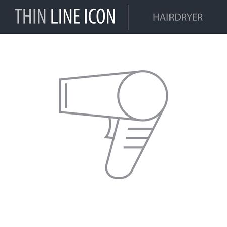 Symbol of Hairdryer. Thin line Icon of Inear Household Elements. Stroke Pictogram Graphic for Web Design. Quality Outline Vector Symbol Concept. Premium Mono Linear Beautiful Plain Laconic Logo