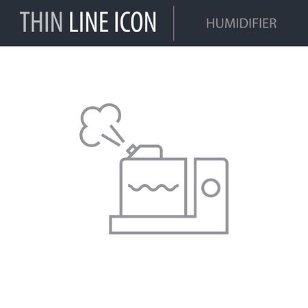 Symbol of Humidifier. Thin line Icon of Inear Household Elements. Stroke Pictogram Graphic for Web Design. Quality Outline Vector Symbol Concept. Premium Mono Linear Beautiful Plain Laconic Logo Illustration
