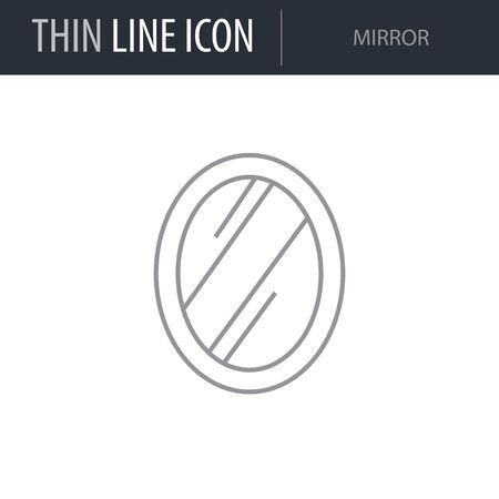 Symbol of Mirror. Thin line Icon of Inear Household Elements. Stroke Pictogram Graphic for Web Design. Quality Outline Vector Symbol Concept. Premium Mono Linear Beautiful Plain Laconic Logo