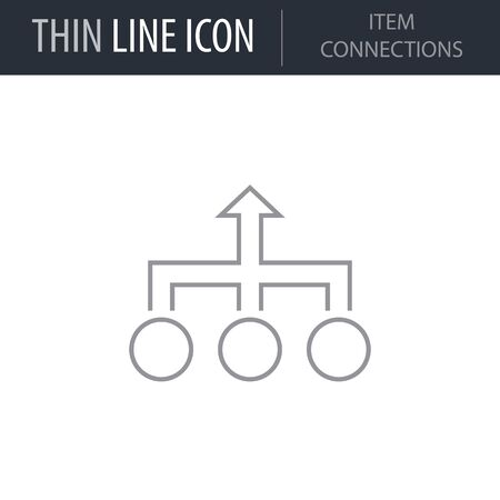 Symbol of Item Connections. Thin line Icon of Infographics. Stroke Pictogram Graphic for Web Design. Quality Outline Vector Symbol Concept. Premium Mono Linear Beautiful Plain Laconic Logo Illustration