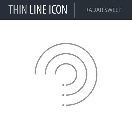 Symbol of Radar Sweep. Thin line Icon of Infographics. Stroke Pictogram Graphic for Web Design. Quality Outline Vector Symbol Concept. Premium Mono Linear Beautiful Plain Laconic Logo