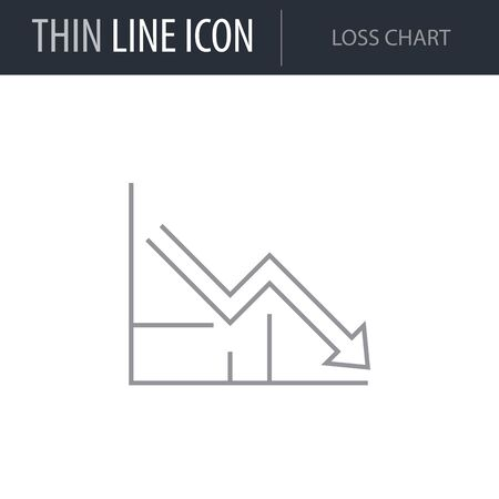 Symbol of Loss Chart. Thin line Icon of Infographics. Stroke Pictogram Graphic for Web Design. Quality Outline Vector Symbol Concept. Premium Mono Linear Beautiful Plain Laconic Logo