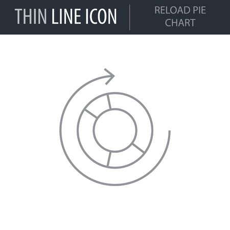 Symbol of Reload Pie Chart. Thin line Icon of Infographics. Stroke Pictogram Graphic for Web Design. Quality Outline Vector Symbol Concept. Premium Mono Linear Beautiful Plain Laconic Logo Illustration