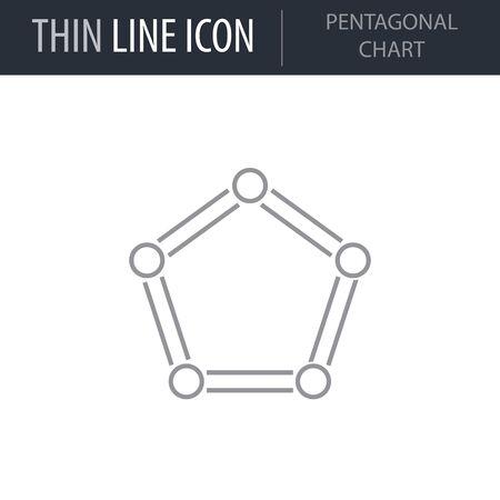Symbol of Pentagonal Chart. Thin line Icon of Infographics. Stroke Pictogram Graphic for Web Design. Quality Outline Vector Symbol Concept. Premium Mono Linear Beautiful Plain Laconic Logo Illusztráció