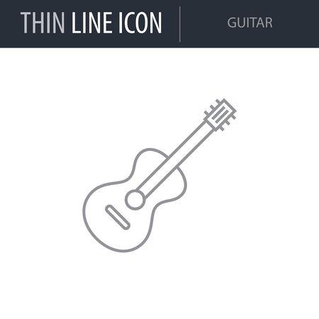 Symbol of Guitar. Thin line Icon of College. Stroke Pictogram Graphic for Web Design. Quality Outline Vector Symbol Concept. Premium Mono Linear Beautiful Plain Laconic Logo Illustration